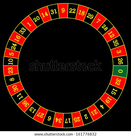 Vector illustration of detailed casino roulette wheel, isolated on white background.
