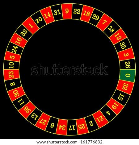 Vector illustration of detailed casino roulette wheel, isolated on white background.  - stock vector