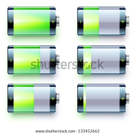 Vector illustration of detailed glossy battery level indicator icons - stock vector