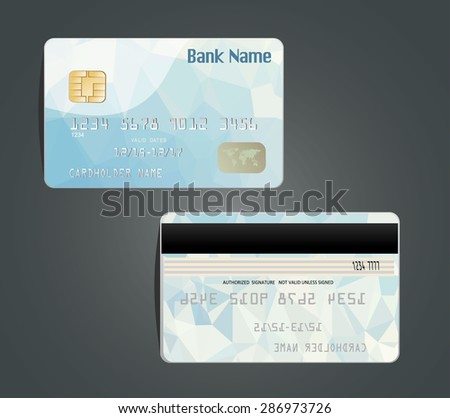 Vector illustration of detailed glossy credit card with design polygon isolated on background. - stock vector