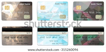 Vector illustration of detailed glossy credit cards with design polygon isolated on background.