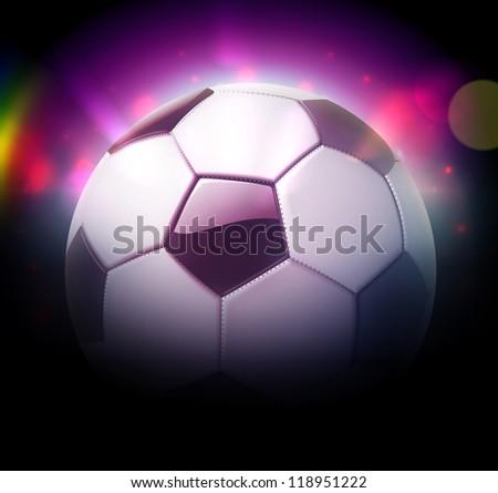 Vector illustration of detailed glossy football/soccer ball over blurred magic neon light background - stock vector