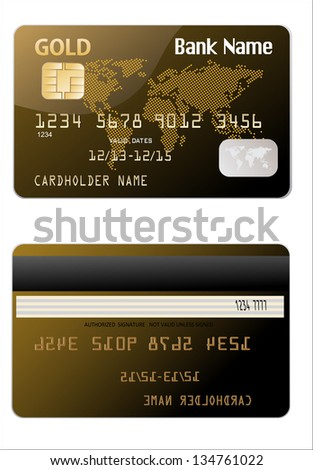 Vector illustration of detailed glossy gold credit card isolated on white background - stock vector
