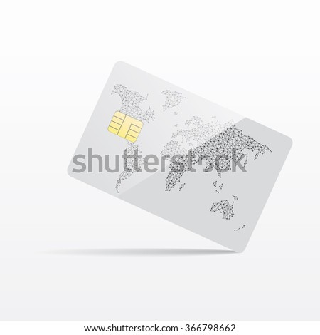Vector illustration of detailed glossy white world credit card isolated on white background.