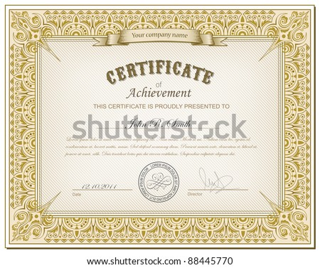 Vector illustration of detailed gold cerificate
