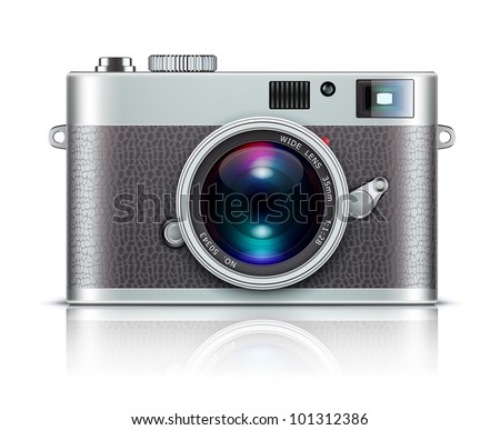 Vector illustration of detailed icon representing retro style camera - stock vector