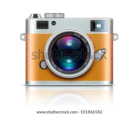 Vector illustration of detailed icon representing retro style camera - stock vector