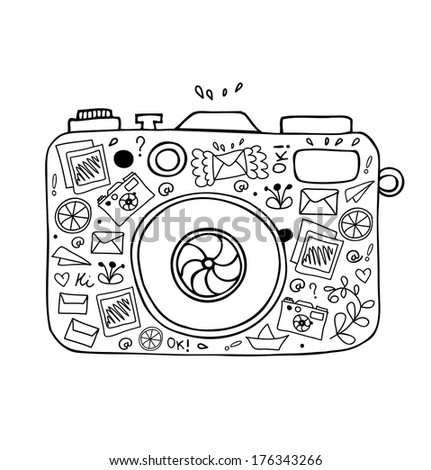 Vector illustration of detailed isolated image of camera with many cute details