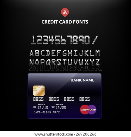 Vector illustration of detailed metallic credit card fonts