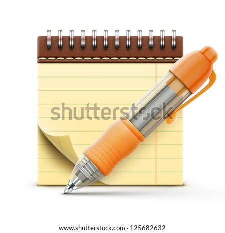 Vector illustration of detailed orange ballpoint pen with coil bound notebook - stock vector