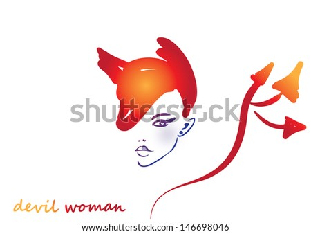Vector illustration of devil girl  - stock vector