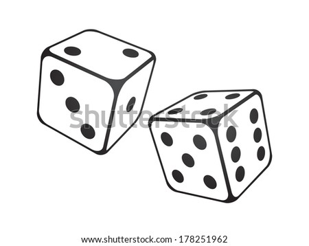 Vector illustration of dice on the white background - stock vector