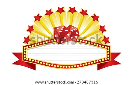 Vector illustration of dices banner. Stars, banner and dices on separate layers. - stock vector