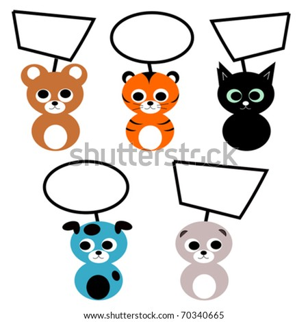 Vector illustration of 5 different baby animals with empty balloons