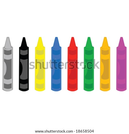 Vector illustration of different colored crayons aligned horizontally