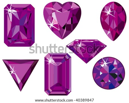 Vector illustration of different cut amethysts isolated on white - stock vector