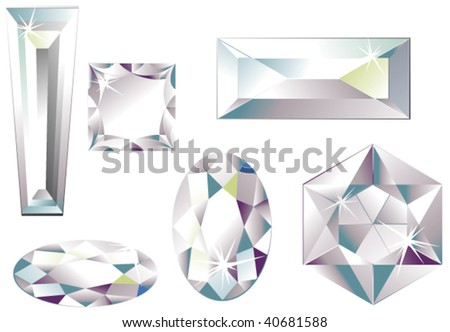 Vector illustration of different cut diamonds isolated on white - stock vector