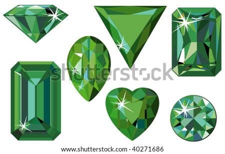 Vector illustration of different cut emeralds isolated on white - stock vector