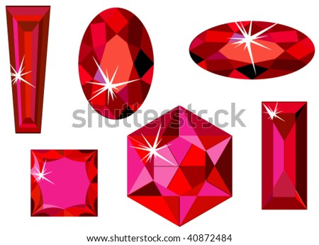 Vector illustration of different cut rubies isolated on white - stock vector