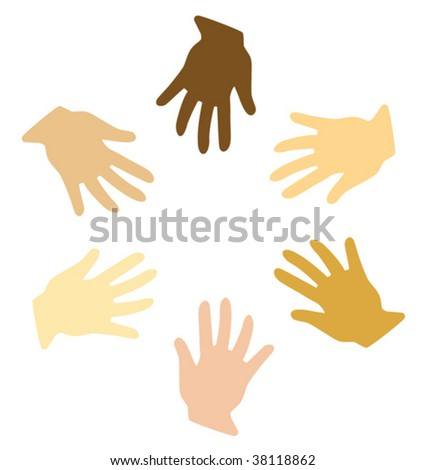 Vector illustration of different hands (symbol of peace) - stock vector