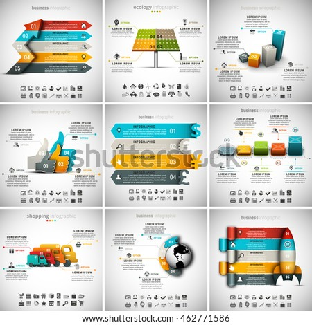 Vector illustration of different infographic templates. 9 in 1 set.