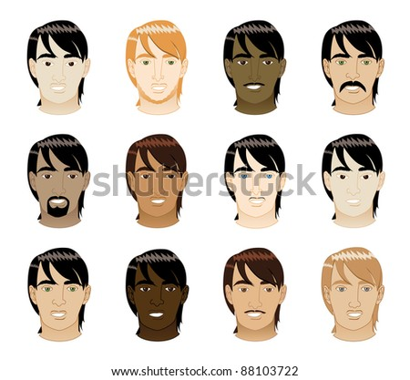 Vector Illustration of 12 different long Straight Hair Men Faces. - stock vector