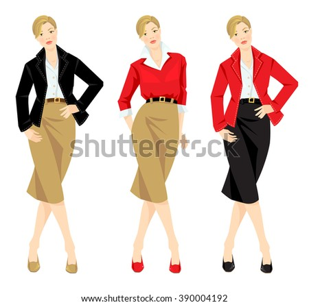 Vector illustration of different look with jacket, cardigan, skirt and white shirt. Casual and formal style of clothes. Base wardrobe. Different color of shoes, jacket and skirt. - stock vector