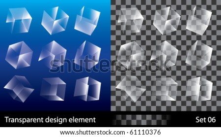 Vector illustration of different position style transparent boxes - stock vector
