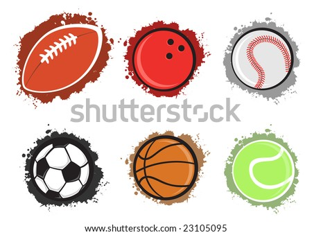 Vector illustration of different sport balls on the grunge background. - stock vector