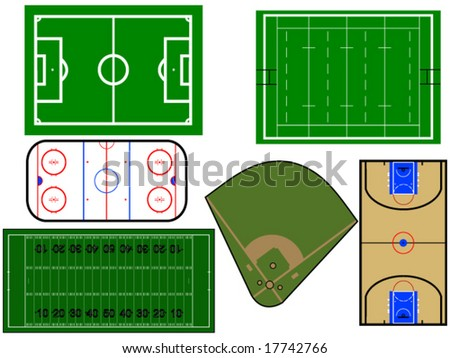 vector illustration of different sport fields