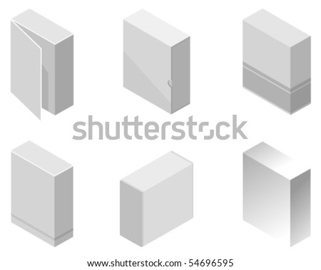 Vector illustration of different style software boxes - stock vector