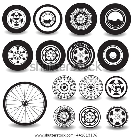 Vector illustration of different tires and wheels black icons isolated on white background.