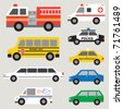 Vector illustration of different types of automobiles including fire truck, ambulance, school bus, police car, taxi, postal truck, van, etc. - stock vector