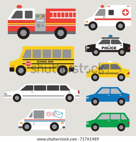 Vector illustration of different types of automobiles including fire truck, ambulance, school bus, police car, taxi, postal truck, van, etc.