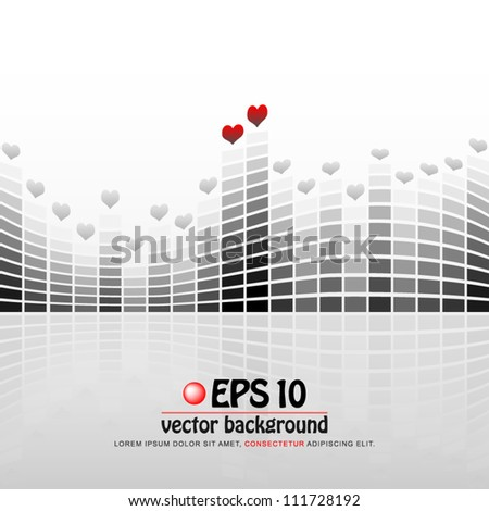 vector illustration of digital equalizer display with valentine heart on each top - stock vector