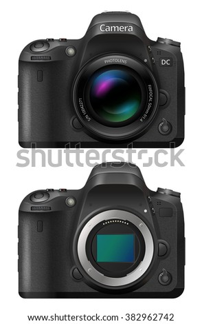 Vector illustration of digital SLR  Camera System with lens and open bayonet mount and matrix
