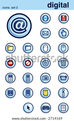 vector illustration of digital theme icons - stock vector