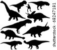 Vector illustration of dinosaur silhouettes on white background. - stock vector