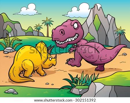 Vector illustration of Dinosaurs cartoon - stock vector