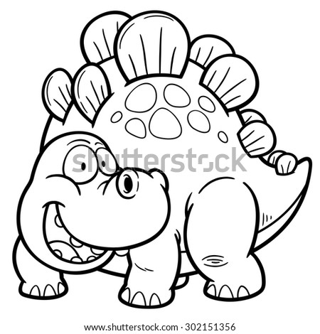 Vector illustration of Dinosaurs cartoon - Coloring book - stock vector