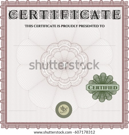 Vector Illustration Diploma Certificate Template Complex – Money Certificate Template