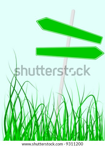 vector illustration of direction sings in the middle of grass - stock vector