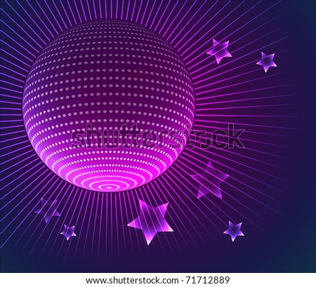 Vector illustration of Disco ball background - stock vector