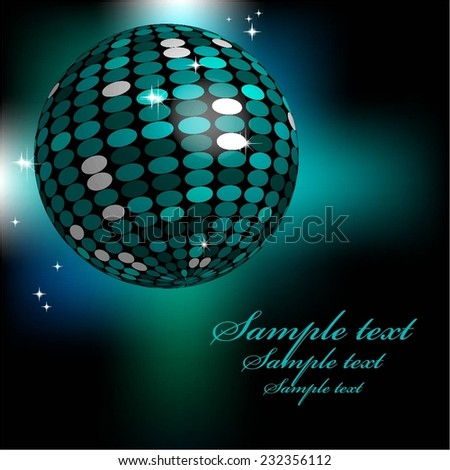 Vector illustration of Discoball. Nightclub. Blue background. - stock vector
