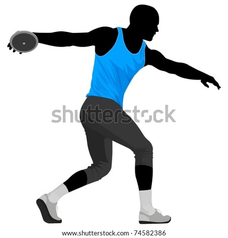 Vector illustration of discus thrower