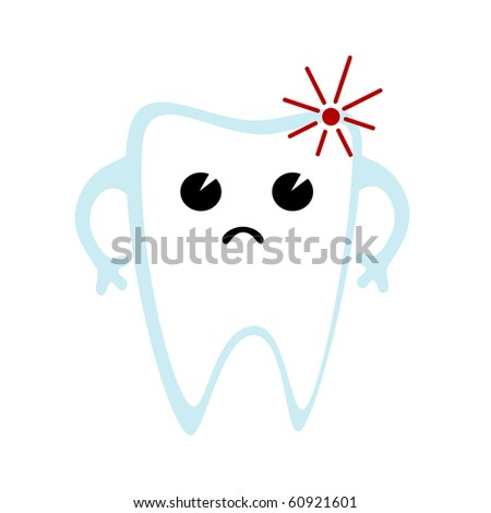 Vector illustration of diseased tooth