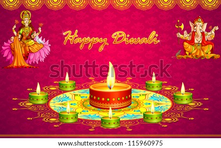 Vector illustration diwali greeting card goddess stock vector hd vector illustration of diwali greeting card with goddess lakshmi and lord ganesha m4hsunfo