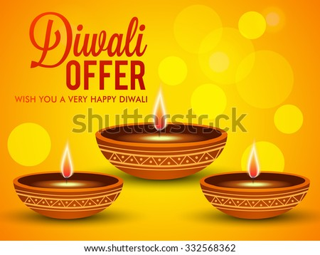 vector illustration of diwali offers sale banners with decorated Diwali diya. - stock vector