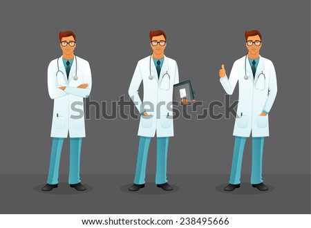 Vector illustration of Doctor in various poses - stock vector