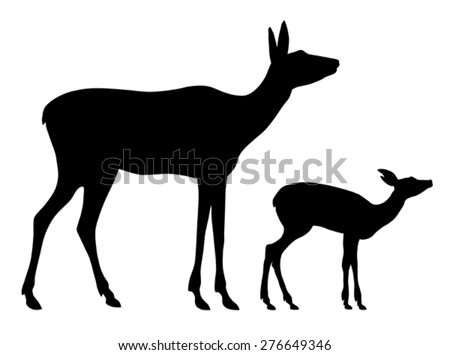 Vector illustration of doe and her baby silhouettes - stock vector
